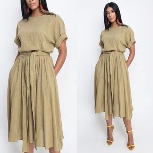 Dresses & Skirts - Light weight olive linen like, cotton set